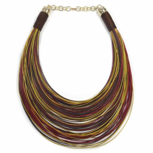 "Collar ""Over the Rainbow"" dorados-granates-marrones"
