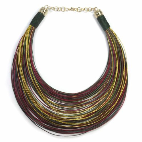 "Collar ""Over the Rainbow"" dorados-granates-verdes"